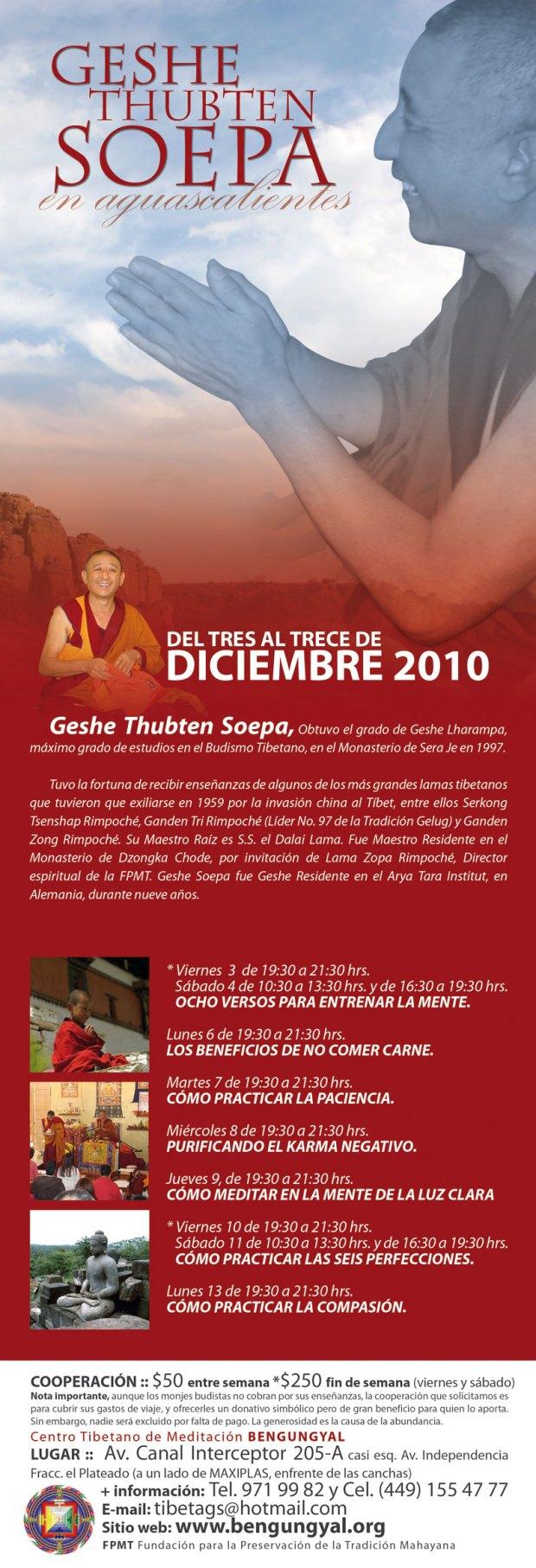 Cursos Geshe Soepa en Aguascalientes