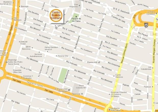 mapa -Centro Budista Siddhartha- Monterrey